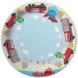 8 Papp-Teller FEUERWEHR für Mottoparty und Kindergeburtstag Kinder Geburtstag Party Fete Set Jungen Pappteller Partyteller Plates Fire Fighter