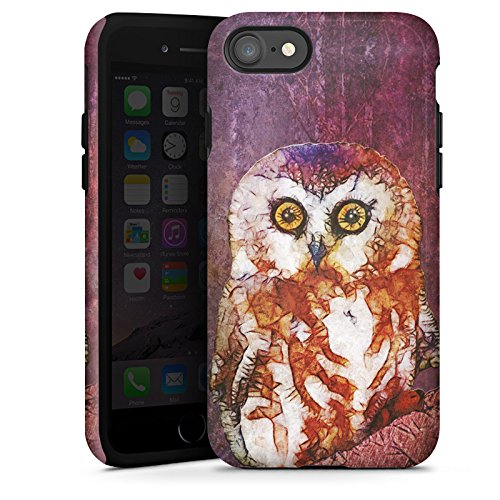 Apple iPhone X Silikon Hülle Case Schutzhülle Eule Owl Wasserfarbe Tough Case glänzend