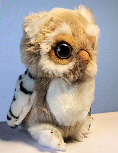Eule aus Plüsch beige 21 cm Uhu Kauz Owl Plüscheule Stoffeule Kuscheltier