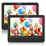 WONNIE Lecteur DVD Portable Voiture 10.1' Double Affichage 4 Heures Support de Moniteur pour Appui-tête, Support pour USB/SD, AV in/Out, Accompagnement de Voyage en Voiture pour Famille