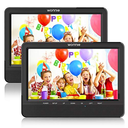 WONNIE Lecteur DVD Portable Voiture 10.1' Double Affichage 4 Heures Support de Moniteur pour Appui-tête, Support pour USB/SD, AV in/Out, Accompagnement de Voyage en...