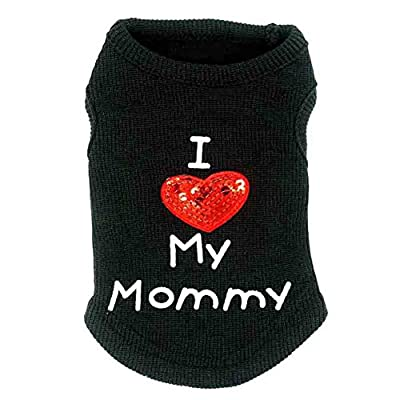 SZTARA Lovely Dog Clothes Cotton I Love Mummy Printed Paillette Heart Embroidered Pet Vest Sleeveless T-Shirts Apparel