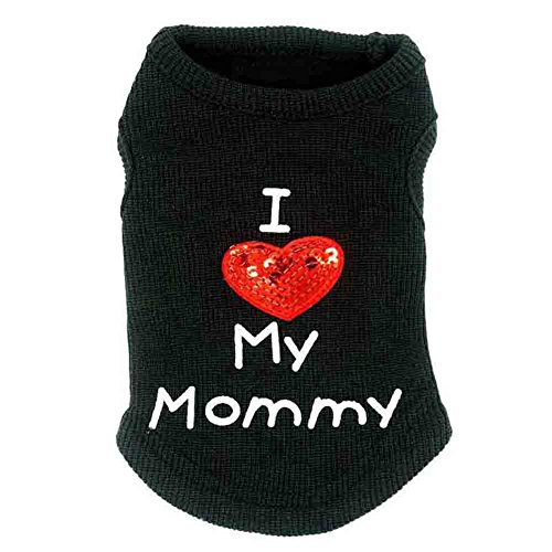 sztara Lovely Hund Kleidung Baumwolle I LOVE Mummy bedruckt Pailletten Herz bestickt Pet Vest Ärmellos T-Shirts Bekleidung (Hund Herz Tee)