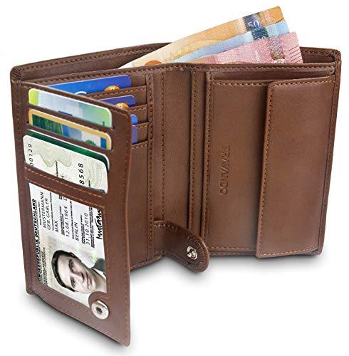 TRAVANDO  Portafoglio Uomo 'ROME' con protezione RFID | Porta Carte di Credito nero con Portamonete, Borsellino, Portafogli in formato Verticale | Porta Banconote | Wallet con Portamonete (Marrone)
