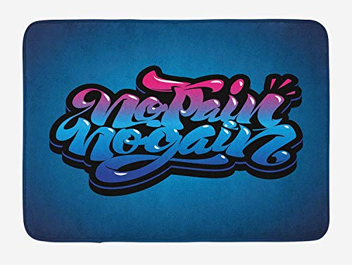 (VYPHN Fitness Bath Mat, No Pain No Gain Motivational Quote Graffiti Style Typography Gym Training, Plush Bathroom Decor Mat with Non Slip Backing, 15.7X23.6 inch, Blue Pink Pale Blue)