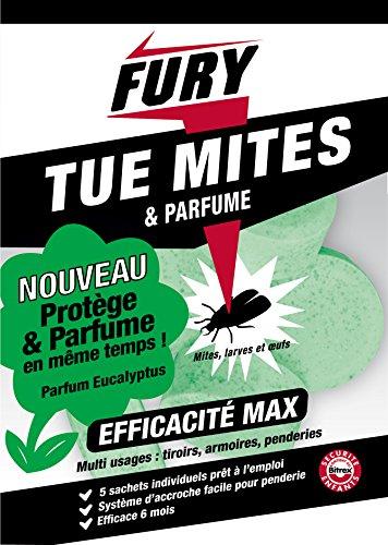 FURY - Anti-mites - 5 Sachets Grosses Billes Parfum Eucalyptus