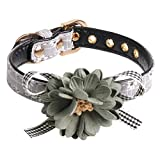 H-ONG Dog Collar Adjustable Pet Collar Dog Bowtie Collar PU Leather Collar with Flower Accessory for Dogs Puppy and Cats Neck 37cm-43cm (Gray-1.5 * 47cm)