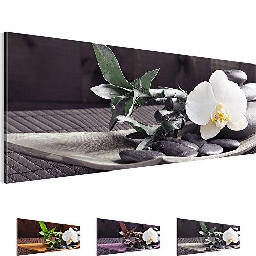 Bilder 110 x 40 cm - Feng Shui Bild - Vlies Leinwand - Kunstdrucke -Wandbild - XXL Format – mehrere Farben und Größen im Shop - Fertig Aufgespannt !!! 100% MADE IN GERMANY !!! - Orchidee – Bambus – Stein 502311c