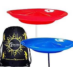 2x Spinning Plate Set with Sticks (Child Safe) Flexi Spinning Plates + Travel Bag. (Blue/Red)