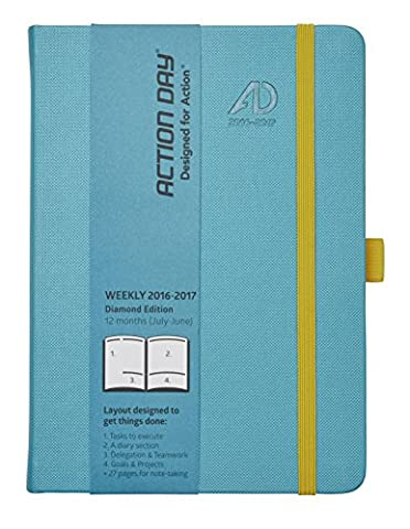 Action Day Planner 2016 - 2017 Academic Calendar : Daily Weekly Monthly Yearly Organizer & Goal Journal - Designed to Set Goals & Get Things Done ( 6 x 8 / Thread-Bound / Turquoise ) - 8 Academic Settimanale