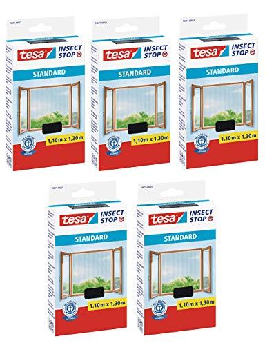 tesa Insect Stop Standard Fliegengitter für Fenster - Insektenschutz zuschneidbar - Mückenschutz ohne Bohren - Fliegen Netz (Anthrazit (Durchsichtig), 1,1m:1,3m (5er Pack))