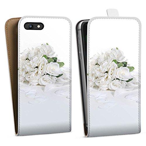 Apple iPhone X Silikon Hülle Case Schutzhülle Rosenstrauss Hochzeitsstrauss Rosenblätter Downflip Tasche weiß