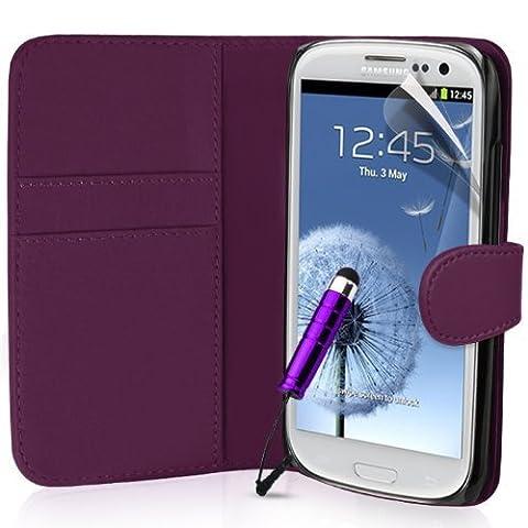 Samsung Galaxy S3 Buch-Stil Imitat Ledertasche Hülle in Lila, Folie für S3, Eingabestift