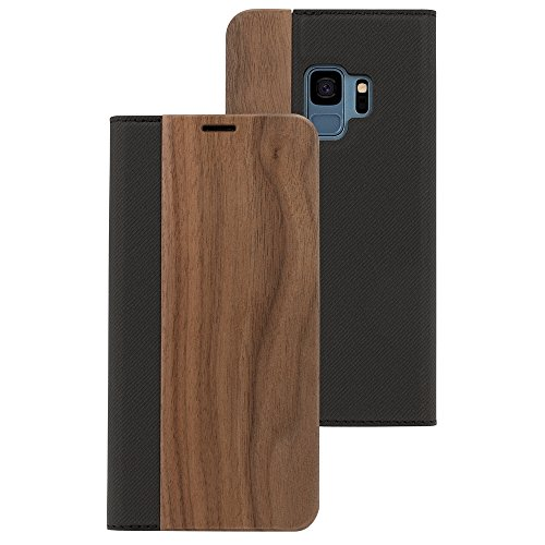 NALIA Echt-Holz Handyhülle kompatibel mit Samsung Galaxy S9, Handmade Natur-Holz Handy-Tasche Klapphülle Flip-Case, Dünnes Slim Kunst-Leder Hardcase, Wood Book Cover Bumper, Farbe:Walnuss