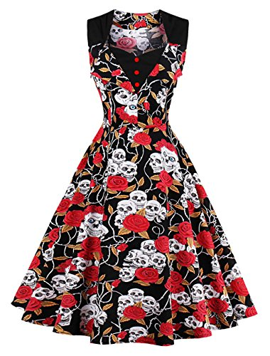 1950s Robes de Femme,VERNASSA 50s Rétro Style Hepburn Style Coton Cocktail Club Prom Vintage Evening Swing Dress,Multicolor,Taille S-4XL 1513-Skull F Ghost