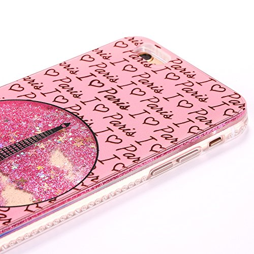 iPhone 6 Plus/6S Plus 5.5 Hülle, Voguecase Flüssig Diamant Treibsand Silikon Schutzhülle / Case / Cover / Hülle / TPU Gel Skin für Apple iPhone 6 Plus/6S Plus 5.5(Kristallturm / Pink) + Gratis Univers Kristallturm / Pink