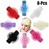 #3: Fascigirl 8PCS Baby Hairband Solid Color Lace Flower Baby Headband Infant Headwrap for Baby Girl Toddler