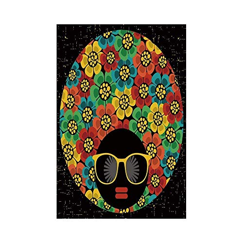 Liumiang Eco-Friendly Manual Custom Garden Flag Demonstration Flag Game Flag,70s Party Decorations,Abstract Woman Portrait Hair Style with Flowers Sunglasses Lips Graphic Decorative,Multicolor décor