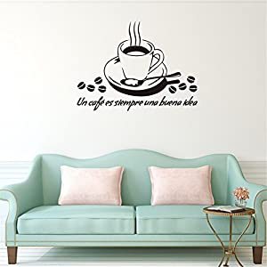 L-Peach Tazza di Caffè Adesivi Murali Adesivo da Pareti Muri in PVC Interruttore Rimovibile Sticker Murali per Cucina Caffetteria