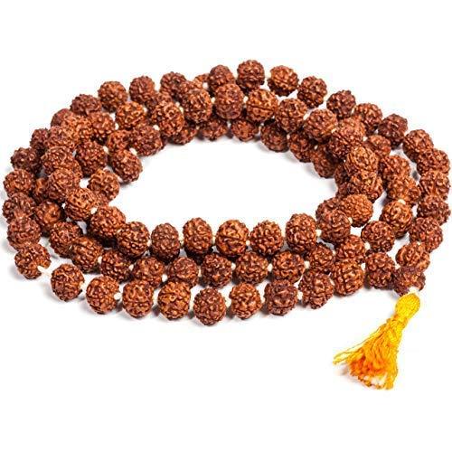 Zonarwood Natural Brown Wood Nepali 5 Mukhi Original Rudraksha Japa Mala Rosary for Men and Women (6 mm)