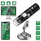 WiFi Microscope Digital,HEYSTOP 1080P HD 2MP Mini Caméra,Endoscope à grossissement 50 à 1000x,8 LED USB 2.0 Microscope Numérique avec Support métallique Compatible iPhone iOS Android Ipad Windows,Mac