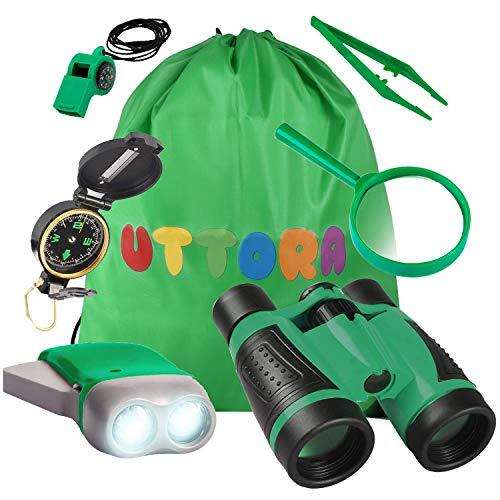 UTTORA Kinder Fernglas Spielzeug Set,Draussen Forscherset Kit Abenteuerspielzeug für Kinder mit Kompass Lupe Insektensammler,Tolles Lernen Camping Wander Geschenk für Jungen und Mädchen