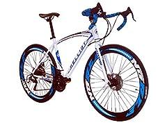 Idea Regalo - Helliot Bikes Sport 02, Bici da Strada Unisex - Adulto, Bianco e Blu, M-L