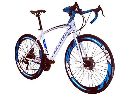 Helliot Bikes Sport 02, Bici da Strada Unisex - Adulto, Bianco e Blu, M-L