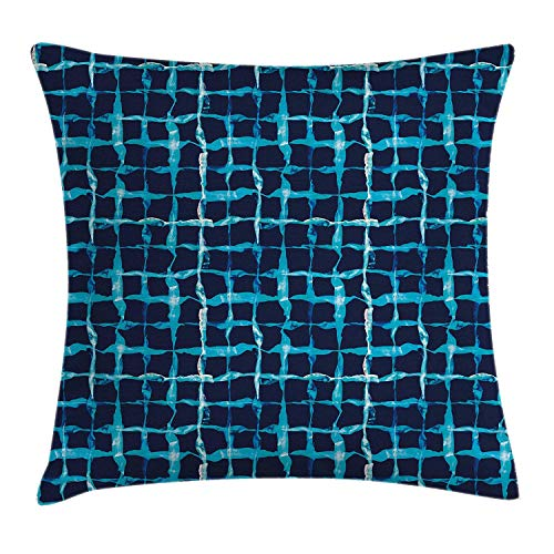 ZTLKFL Indigo Throw Pillow Cushion Cover, Watercolor Print Geometric Squares Lines Aqua Pool Inspired Design, Decorative Square Accent Pillow Case, 18 X 18 Inches, Navy Blue White and Sky Blue -