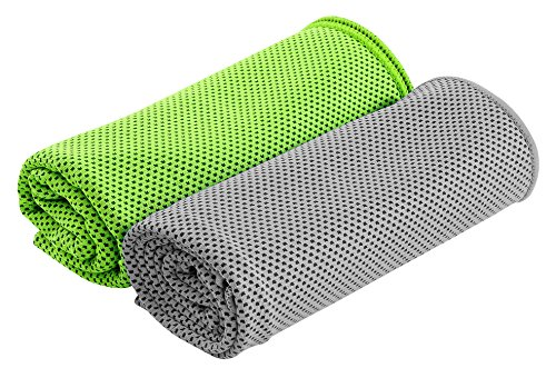 HOGAR AMO 2er Kühltuch Kühlhandtuch Eiskalt Kühlen für Gym Golf Yoga Laufen Sports im Freien Maschinen-waschbar/Arbeiten in Der Heißen Umgebung( 30 * 100CM - Freien Sport Im