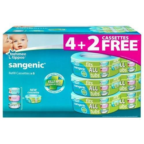 Confezione Multipack 6 Ricariche per Contenitore Pannolini Sangenic Hygiene Plus Tommee Tippee