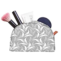 Snoogg White And Grey Leaves Designer Multifunctional Canvas Pen Bag Pencil Case Makeup Tool Bag Storage Pouch Purse