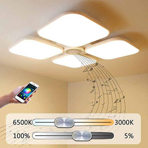 Led Deckenleuchte Deckenlampe Dimmbarmit BluetoothFunktion 72W,Bluetooth Lautsprecher Bluetooth Deckenleuchte FurWohnzimmer,Schlafzimmer,KücheundEsszimmer 50869-72W-LY - Ring-küchen-timer