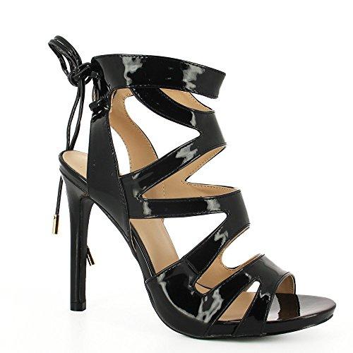 Ideal Shoes–Sandali a lacci effetto vernice con frontale Incrociato Viola Nero