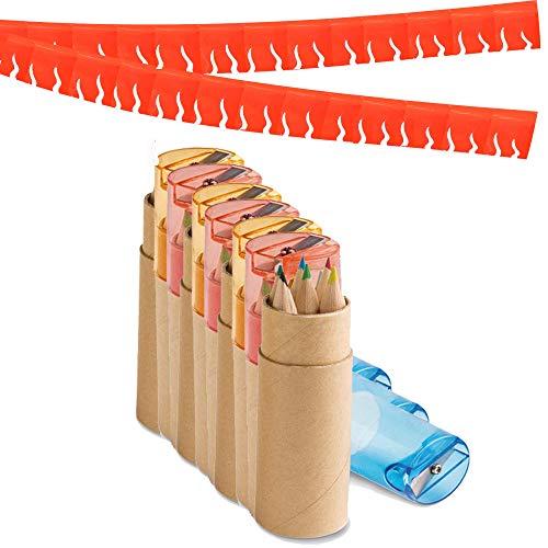 Partituki Pack de 10 Sets de Lápices de Colores. Cada Uno con 6 Lápices, 1 Sacapuntas y una Guirnalda Roja de 20 m. Regalos y Detalles de Fiestas Infantiles