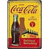Nostalgic-Art 10276, Targa Metallica, Motivo: Coca-Cola - Bottles, 10 x 14 cm, Giallo