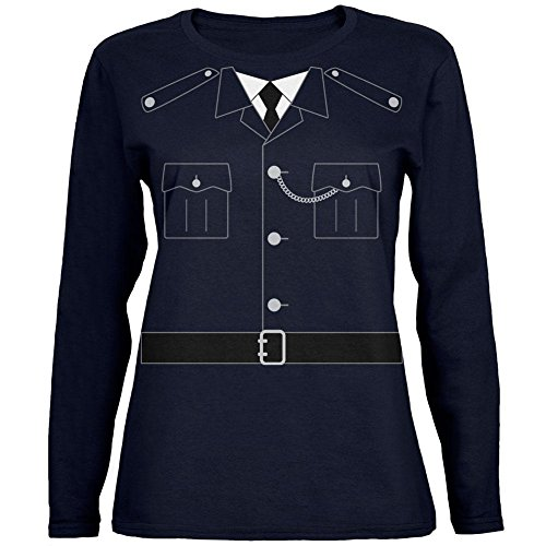 Halloween britische Bobby Kupfer Polizei Kostüm Womens Long Sleeve T-Shirt Marine (Kostüme Bobby Britische)