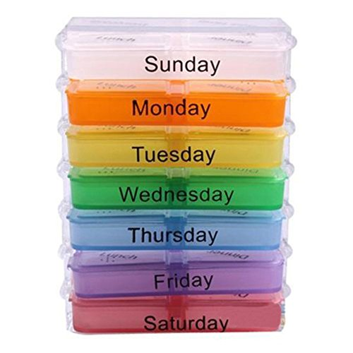 Tankerstreet settimanale medicina medicina, scatola portaoggetti organizer, Daily Pill box case Sorter contenitori con scomparti 7giorni per AM e PM Travel, colori assortiti