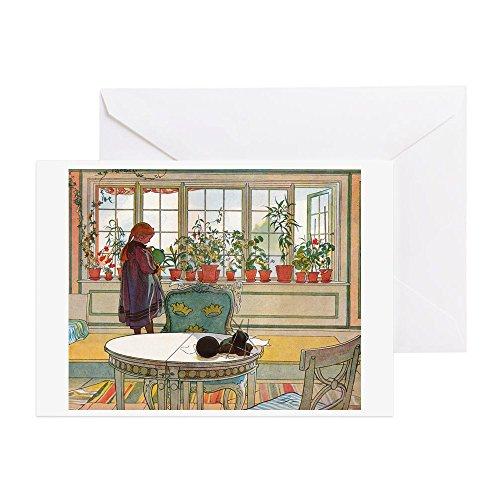 CafePress–Blumen auf der Fensterbank von Carl La Grußkarte–Grußkarte (20er Pack), Note Karte mit Innen blanko,, Geburtstagskarte matt (Mädchen Bewässerung Blume)