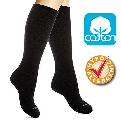 Medias de Compresión en Algodón Mujeres. Calcetines Elásticos Ortopédicos Antivárices