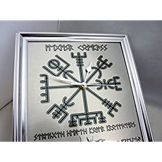 Viking RUNE Framed Wall Clock with Vegvisir COMPASS, Odin, Thor and Freyja, Can be Personalised with your 'NAME' and 'Message' in RUNE Script!!
