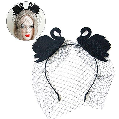 Frcolor Filz Tuch Mesh Net Stirnband Kopfschmuck für Halloween Cosplay Kostüm Party (Schwarz) (Mesh Kostüm)