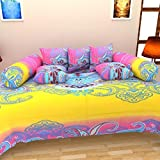 Reliable Trends 100% Cotton Modern Diwan Set (Set Of 8 Pieces)- YELLOW