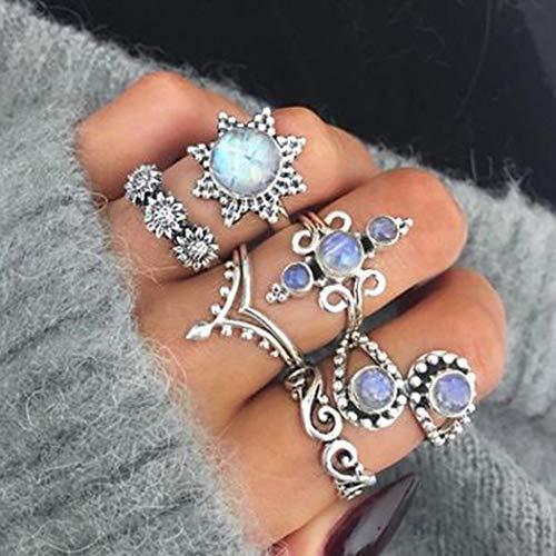 Yean Vintage Ring Set Sonnenblume Kristall Krone Vine Joint Knuckle Ringe Silber für Frauen und Mädchen
