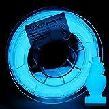 AMOLEN Imprimante 3D Filament PLA 1.75mm, Glow in the Dark Bleu 200G,+/- 0.03 mm Matériaux d'impression 3D en filament, comprend des échantillons de Filaments Marbre.
