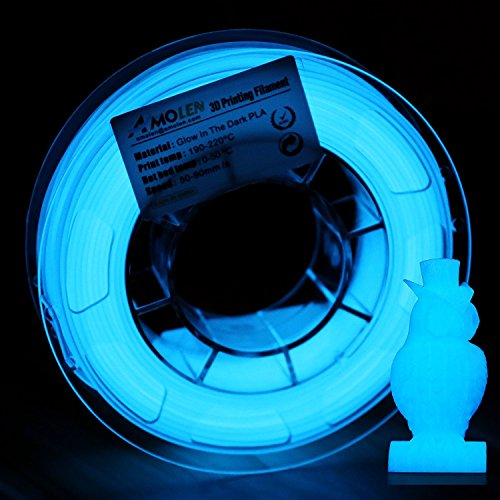 AMOLEN 3D Drucker Filament Glow in the Dark Blau, PLA Filament 1.75mm 200G(0.44lb),+/- 0.03 mm 3D Drucker Materialien, enthält Proben Marmor Filament. (Glow In The Dark Blau)