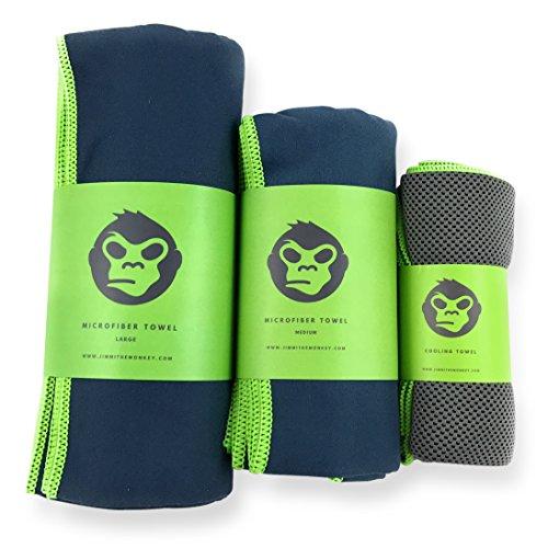 JIMMI THE MONKEY Mikrofaser-Handtuch 3er–Set: Large, Medium + ein Cooling Towel (160x80cm, 120x60cm + 100x30cm). Schnelltrocknend, kompakt und ultraleicht. Speziell entwickelt für Outdoor, Bergtouren, Backpacking und Training