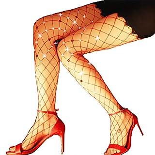 MAKFORT Sexy Netzstrumpfhose rot Sparkle Strass Fischnetz Strumpfhosen Netzstrumpfhose Glitzer Sexy Net Strümpfe Für Kostüm Fasching Weihnachten
