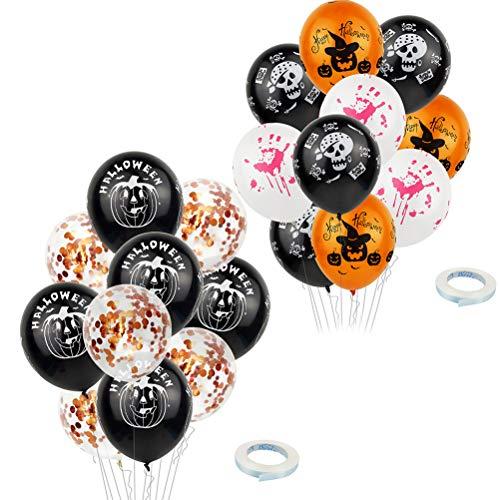 Vosarea 20pcs Halloween Latex Luftballons Kürbis Handabdrücke Blutige Design Pailletten Konfetti Luftballons mit 5m Bändern für Halloween Dekorationen Party Supplies