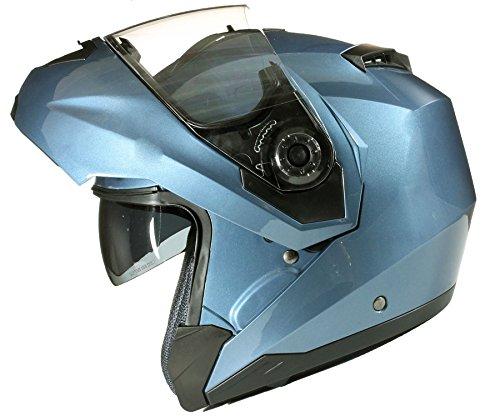 Qtech - Casco modulare apribile per moto, con doppia visiera, colore nero, bianco, argento, rosa o giallo
